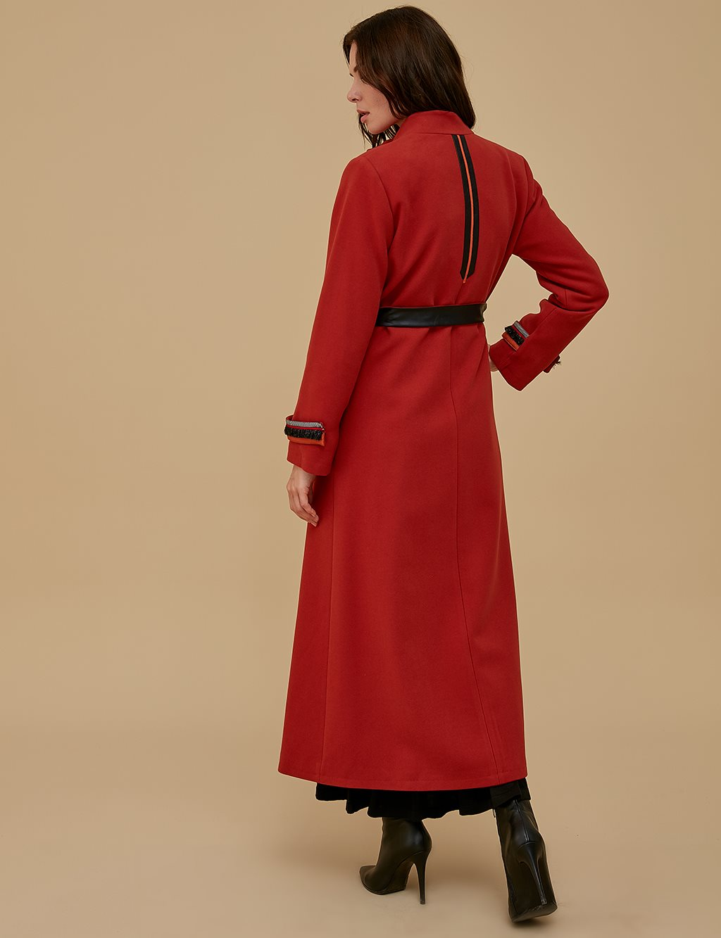 Coat With Leather Detailed Belt A9 18003 Tile