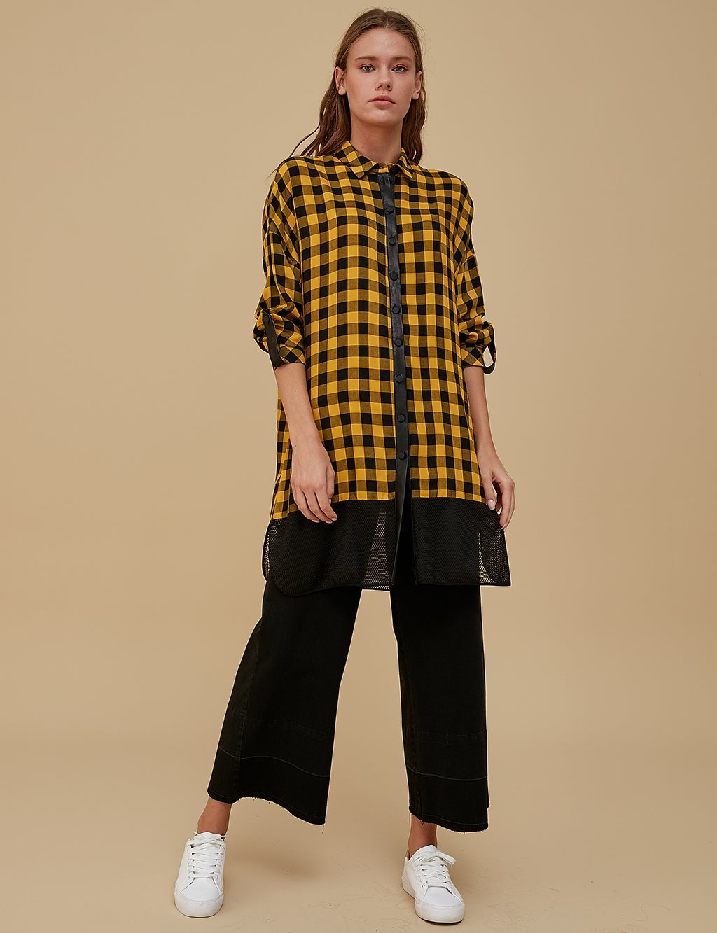 Checkered Oversize Tunic A9 21254 Yellow