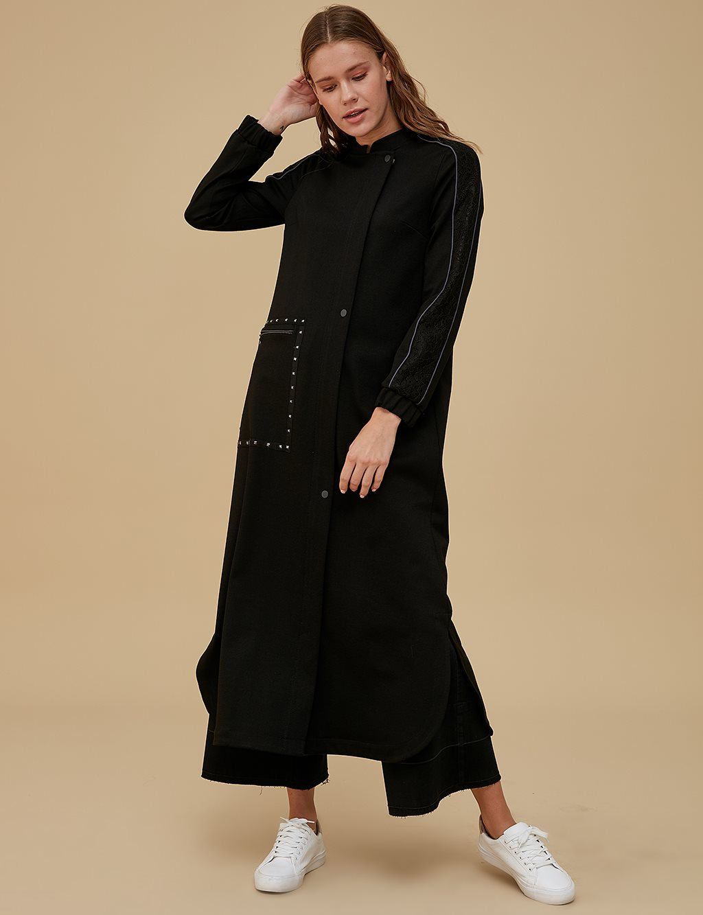 Overcoat With Guipure Sleeve A9 25039 Black