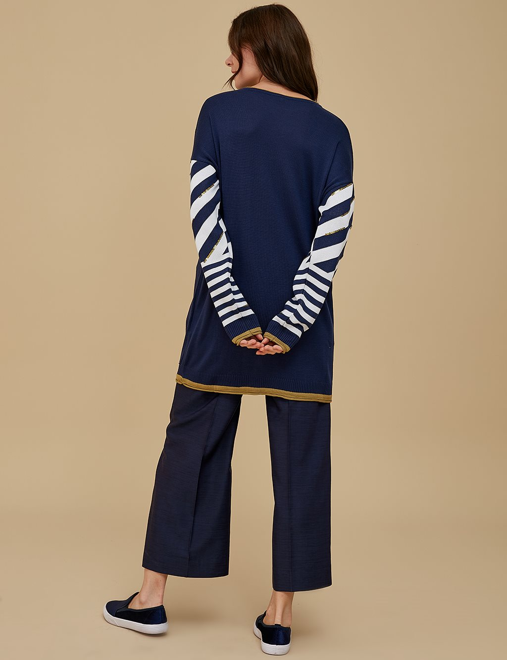Sequin Detailed Knitwear Tunic A9 TRK61 Navy