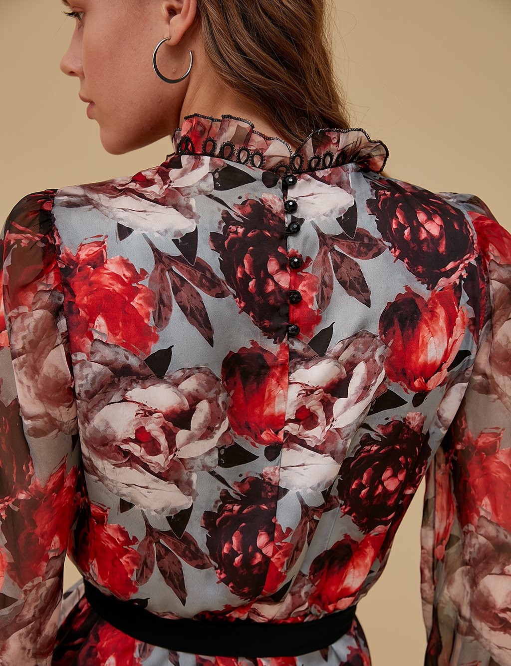 Floral Patterned Blouse A9 10034 Red