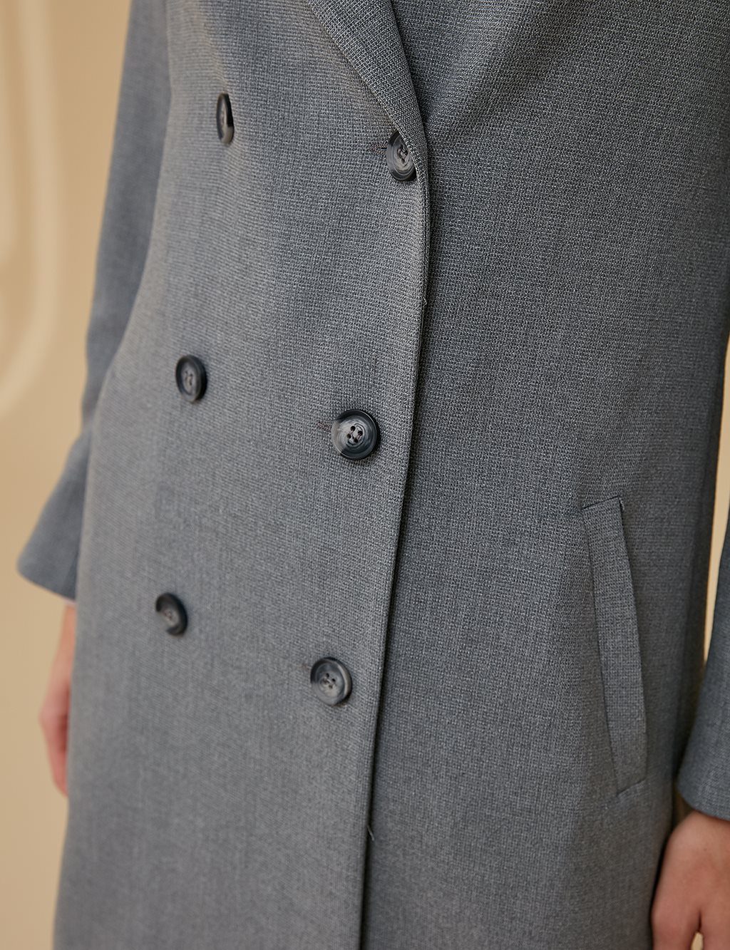 Jacket With Double Button Detail A9 13077 Grey