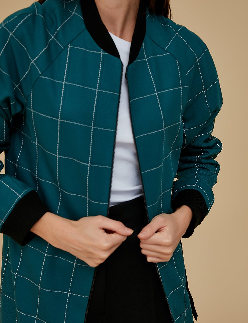 Checkered Jacket With Zipper A9 13085 Petrol