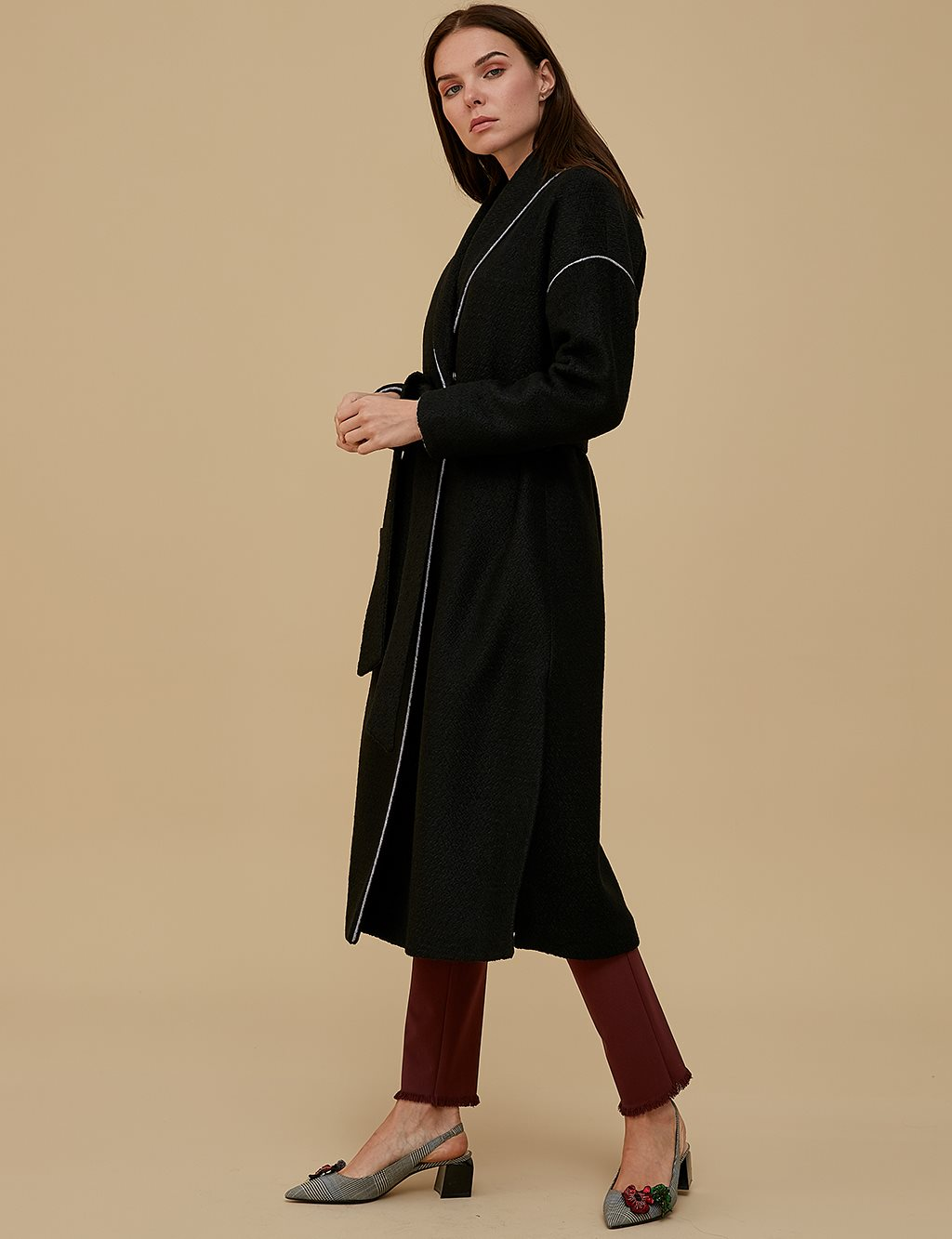 Collar Detailed Coat A9 14062 Black