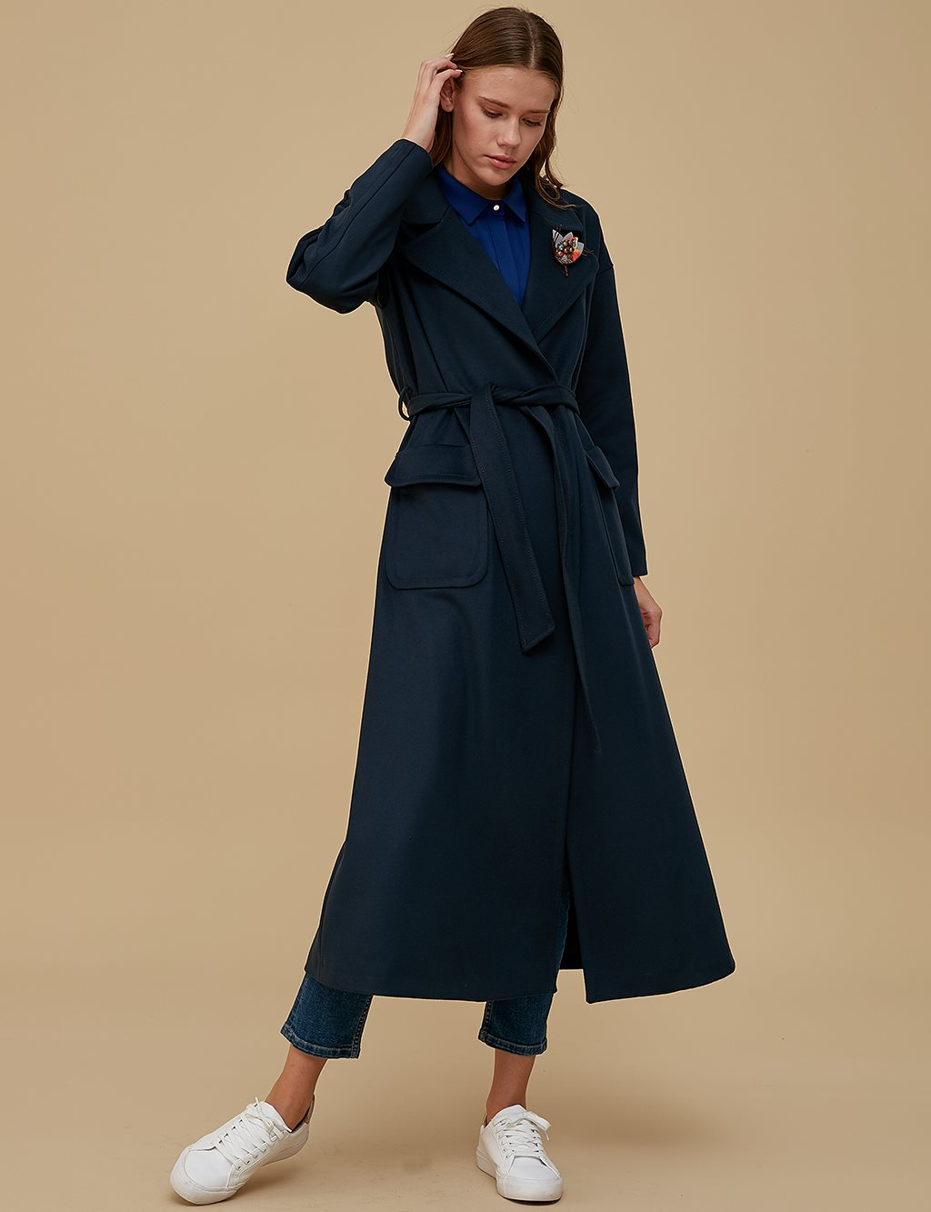Overcoat With Belt A9 17007 Navy