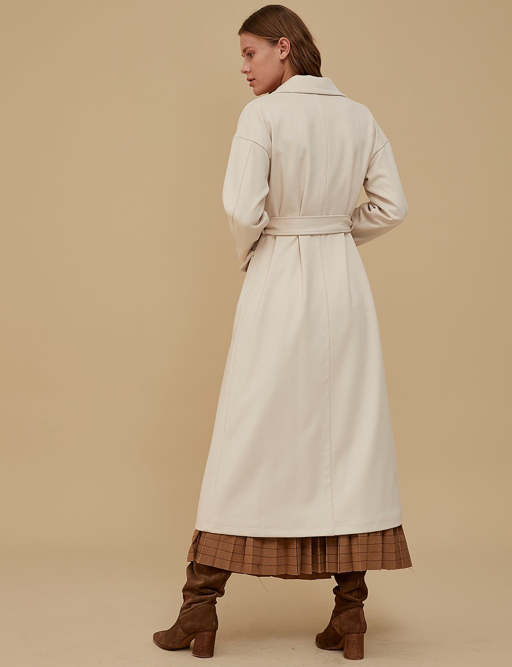 Overcoat With Belt A9 17007 Cream
