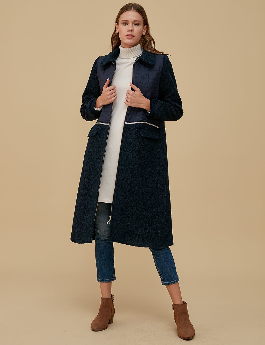 Quilted Coat A9 17011 Navy
