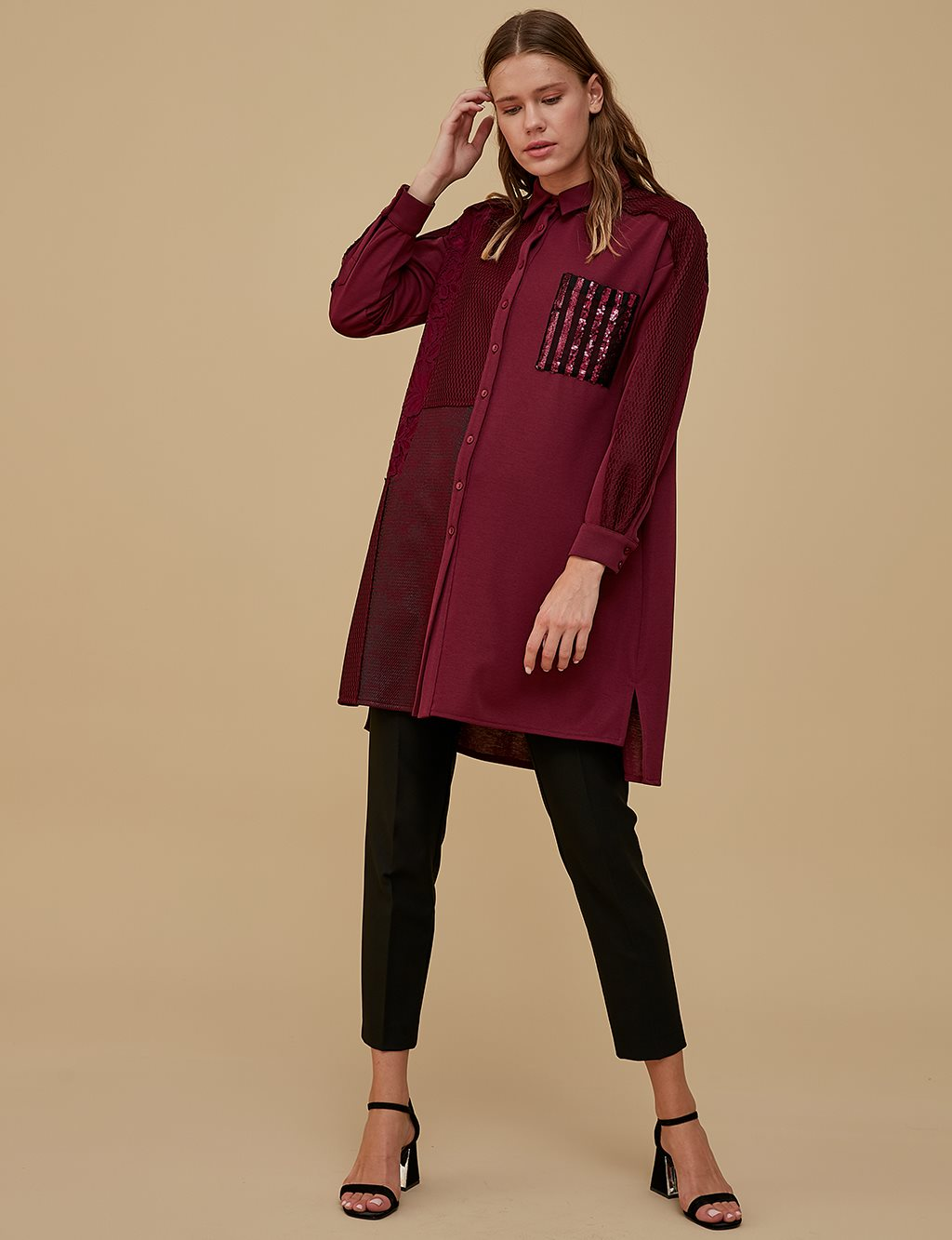 Sequin Detailed Tunic A9 21206 Burgundy