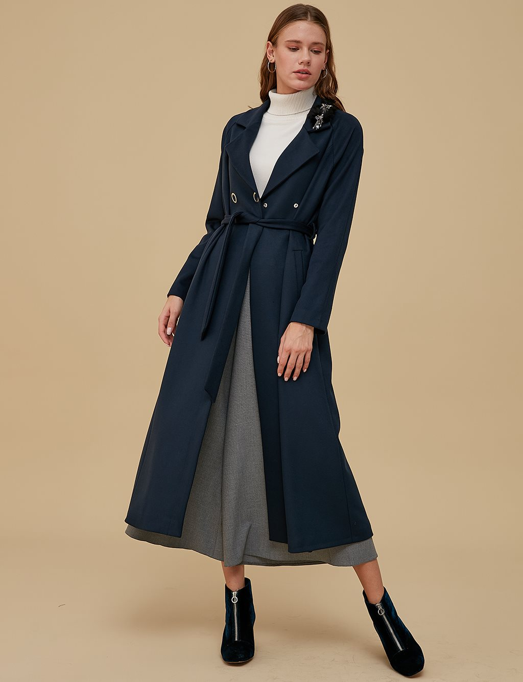 Coat With Belt Detail A9 17037 Navy