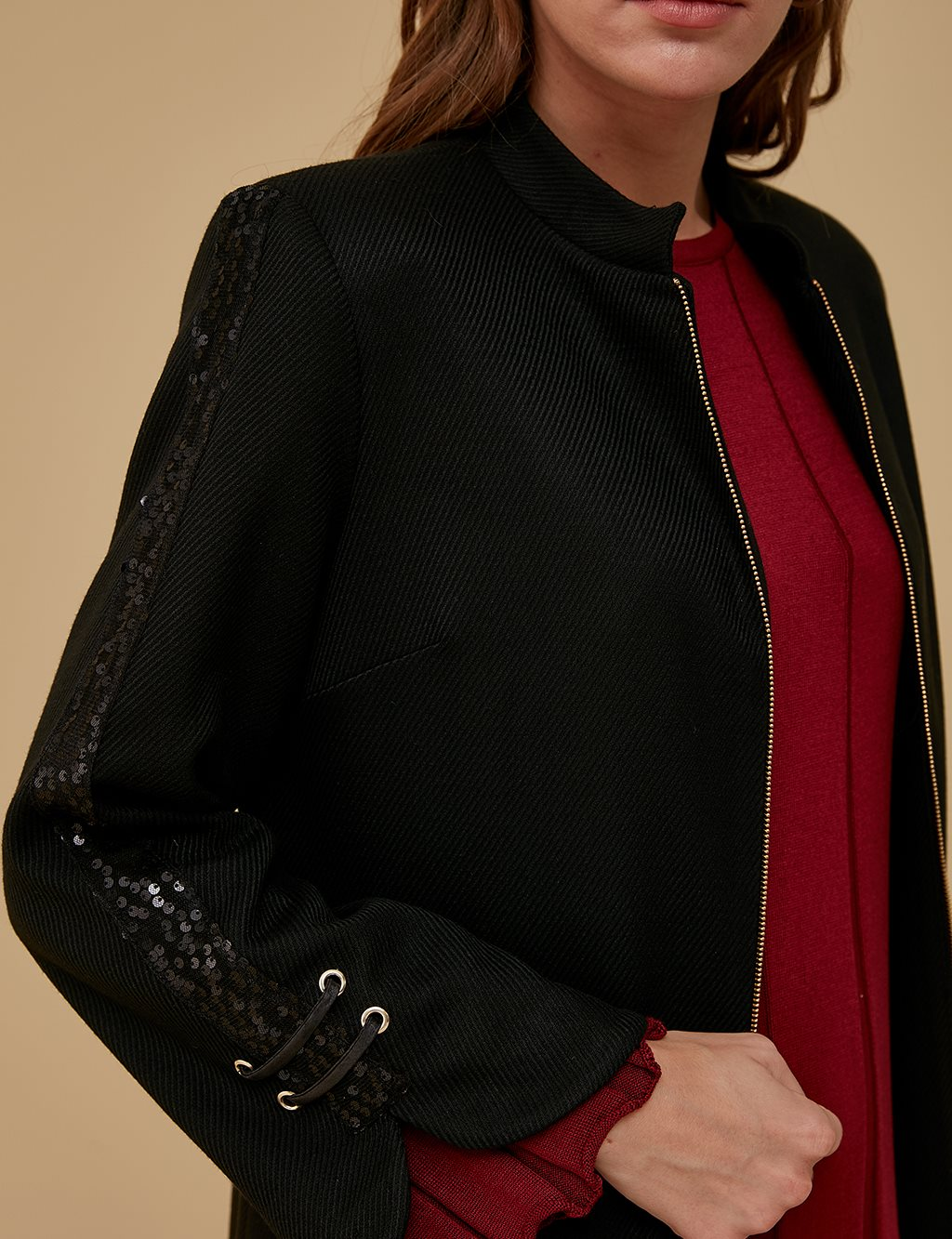 Three Quarter Sleeve Coat A9 17059 Black