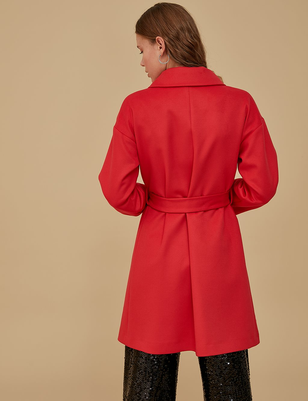 Coat With Belt A9 17063 Red