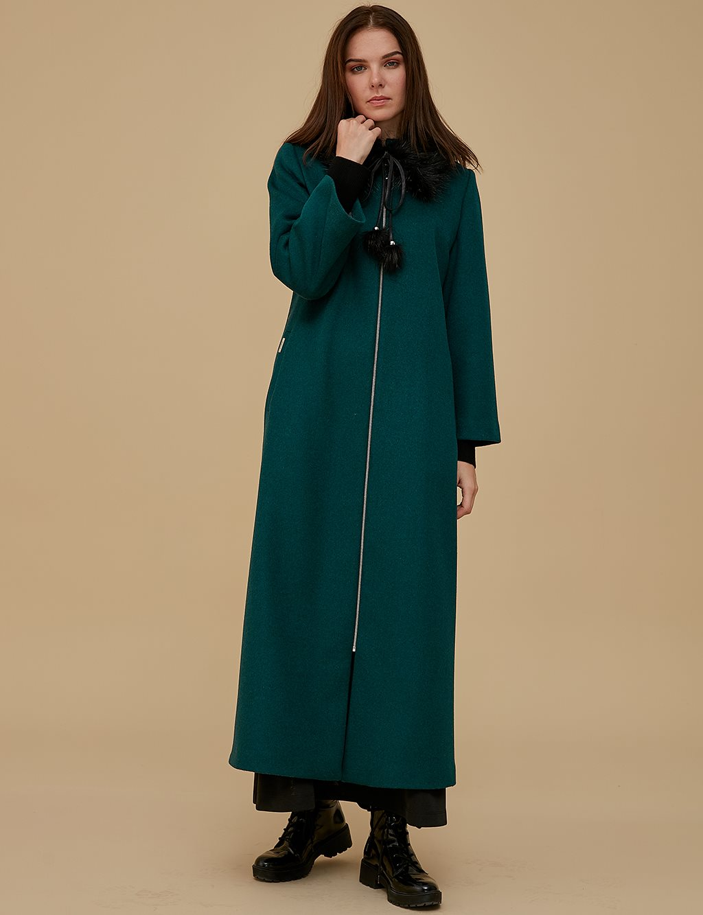 Furry Collar Coat A9 18012 Green