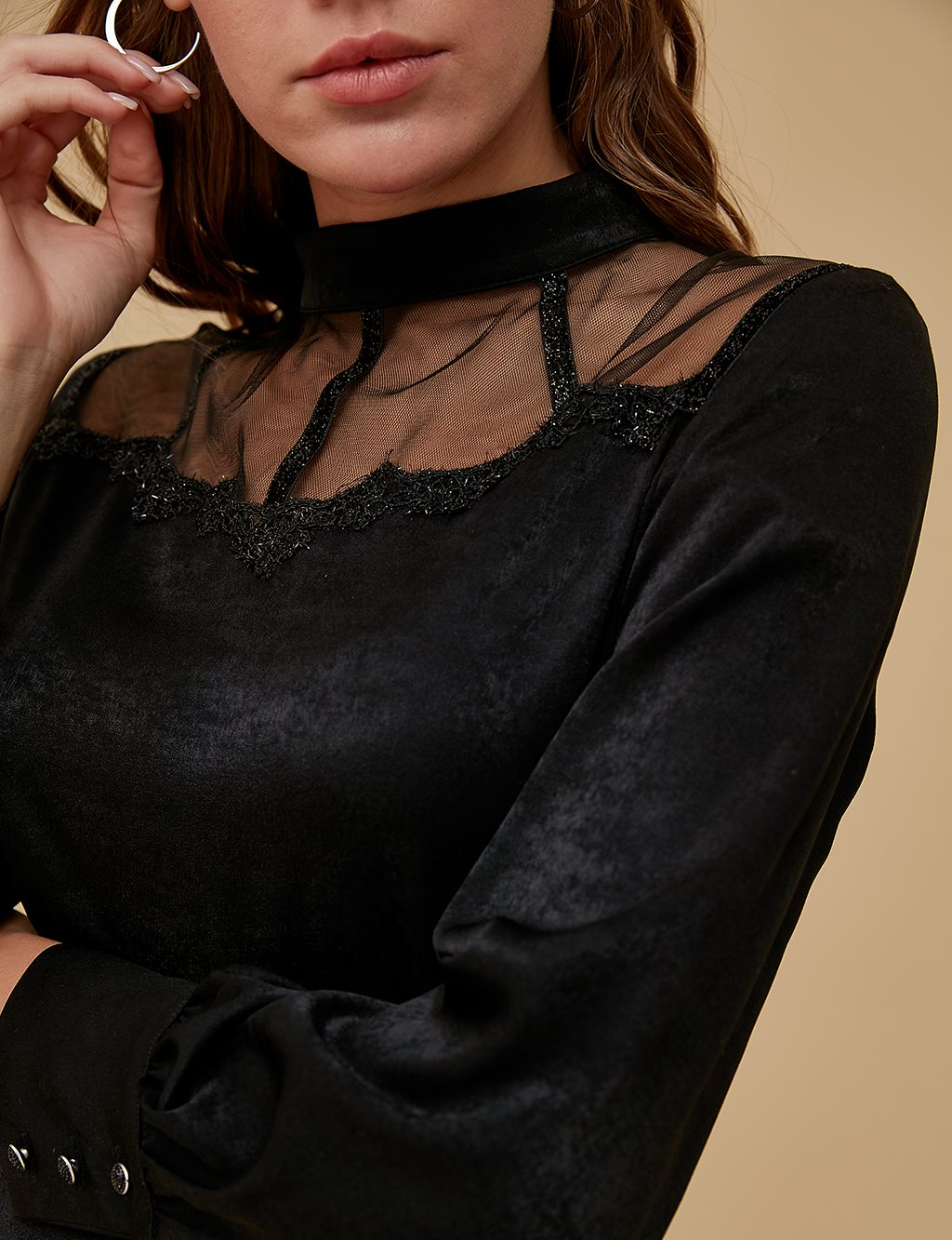 Tulle Detailed Blouse A9 21199 Black