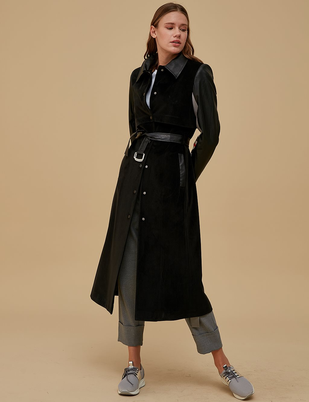 Imitation Leather Sleeve Coat A9 14012 Black