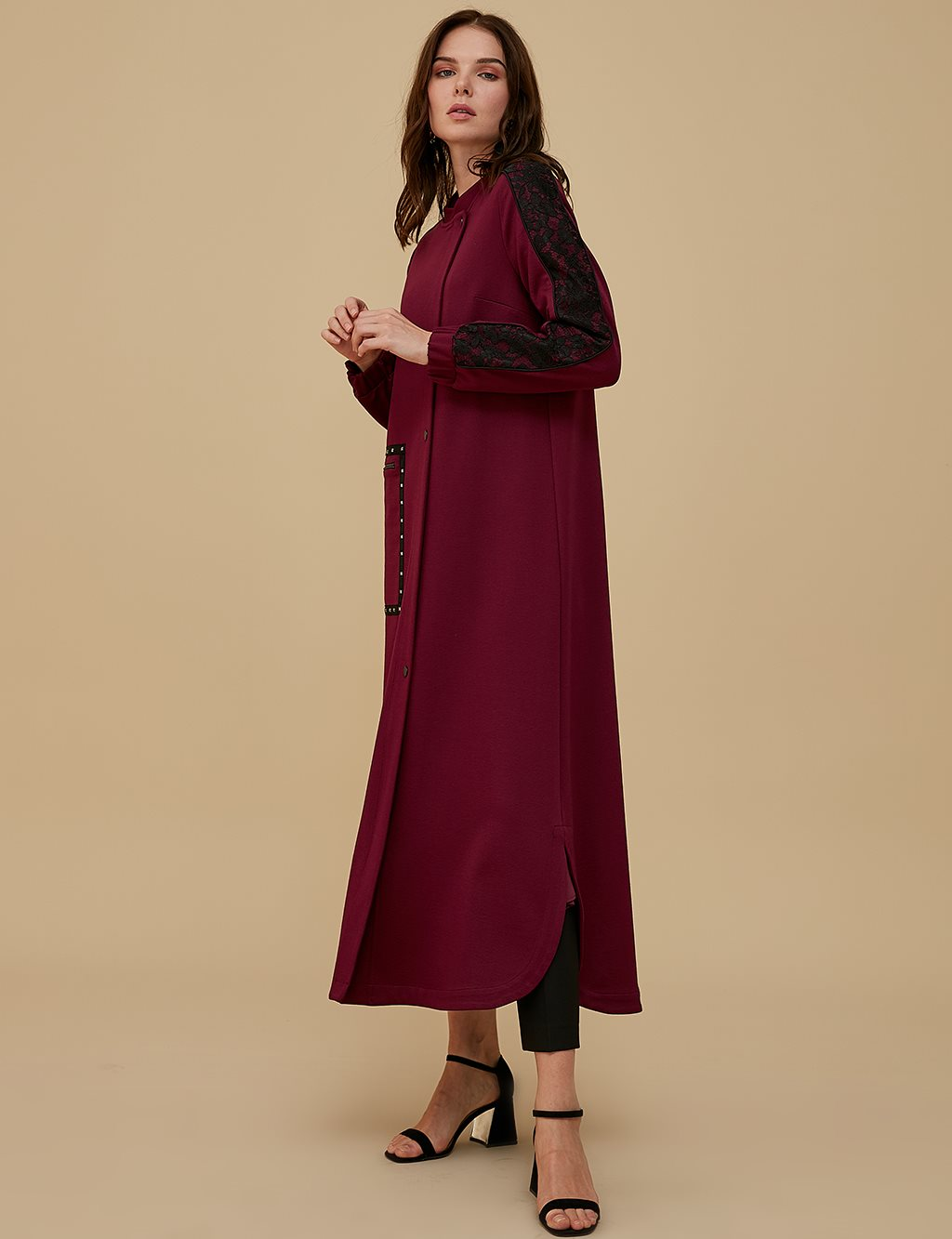 Overcoat With Guipure Sleeve A9 25039 Burgundy