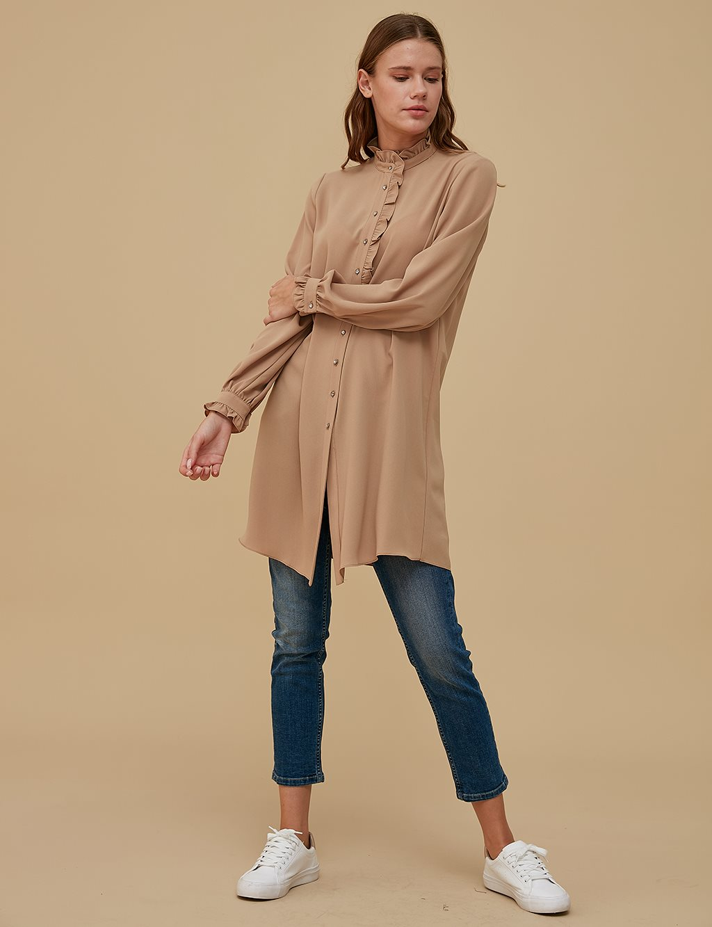 KYR Ruffled Collar Tunic A9 81098 Beige