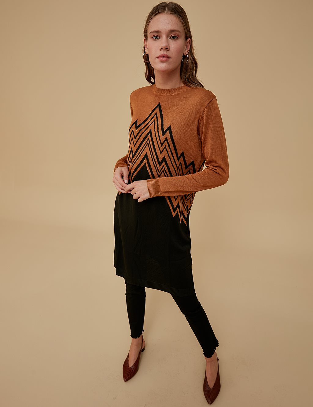 Geometric Patterned Knitwear Tunic A9 TRK44