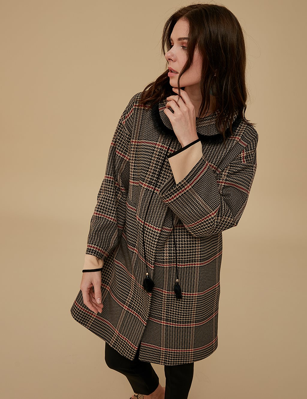 Checkered Coat A9 25088 Black