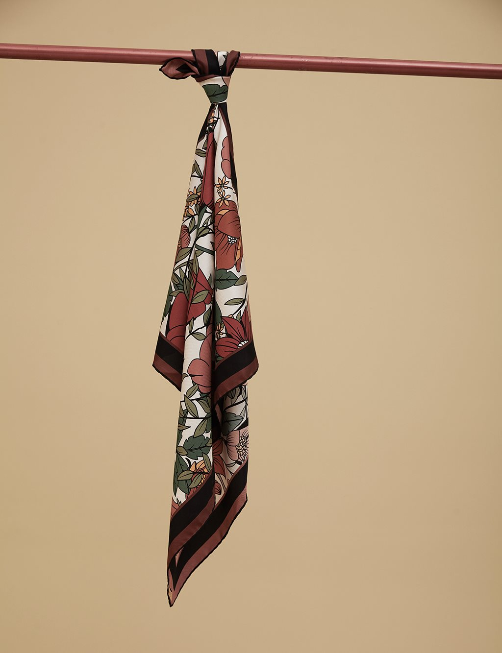 Floral Patterned Twill Cotton Scarf A9 ESP10 Green
