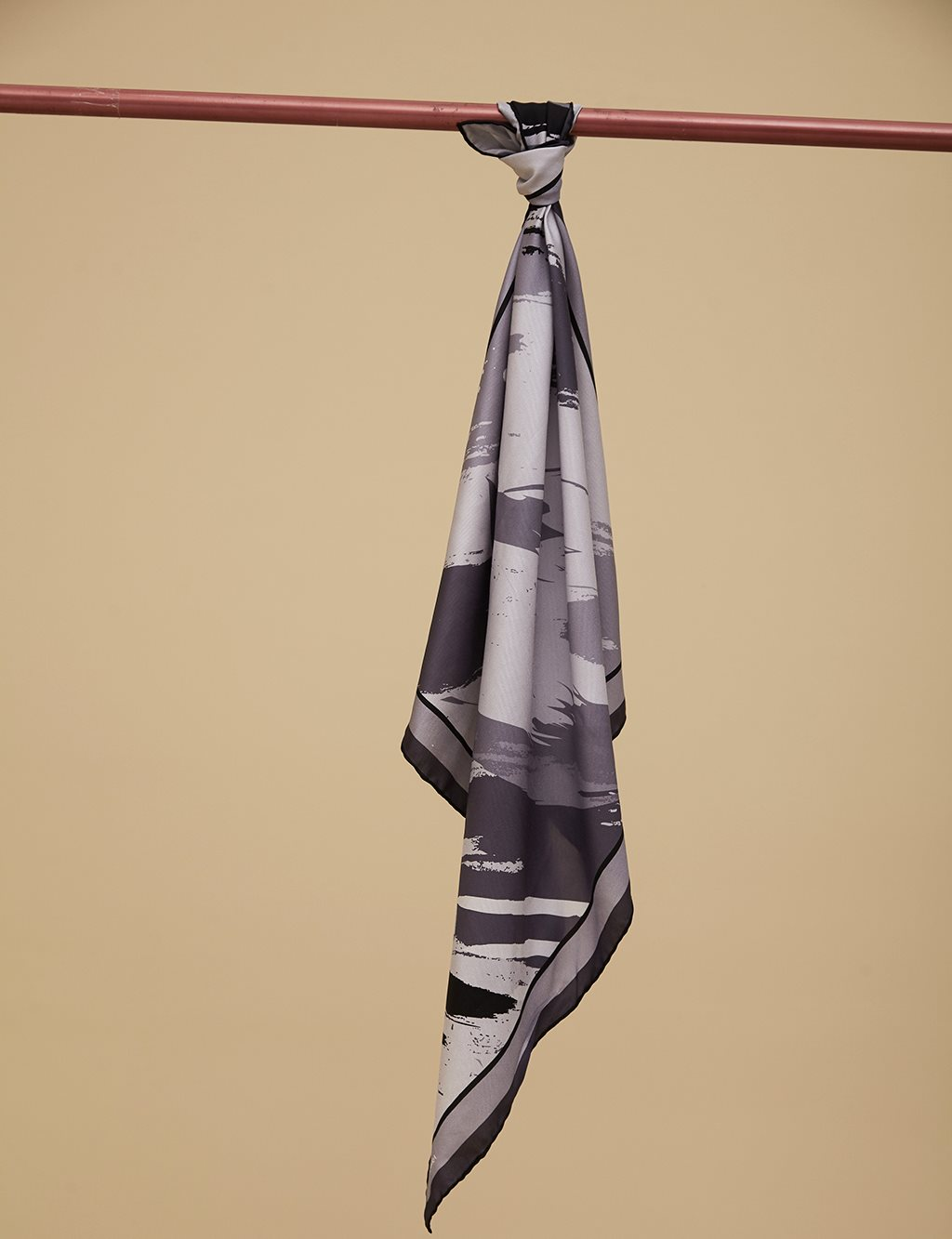 Intangible Patterned Twill Silk Scarf A9 ESP03 Black