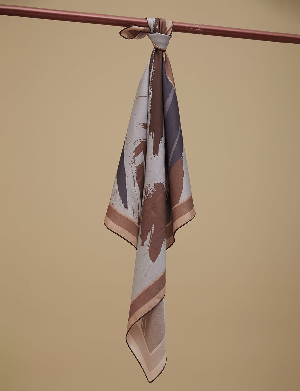 Intangible Patterned Twill Silk Scarf A9 ESP03 Beige