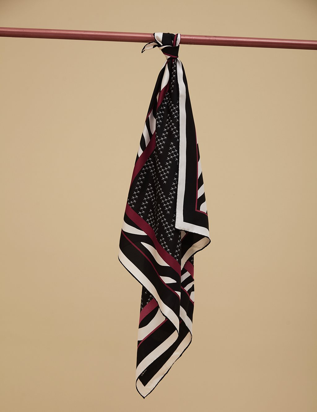 Geometric Patterned Twill Scarf A9 ESP07 Red