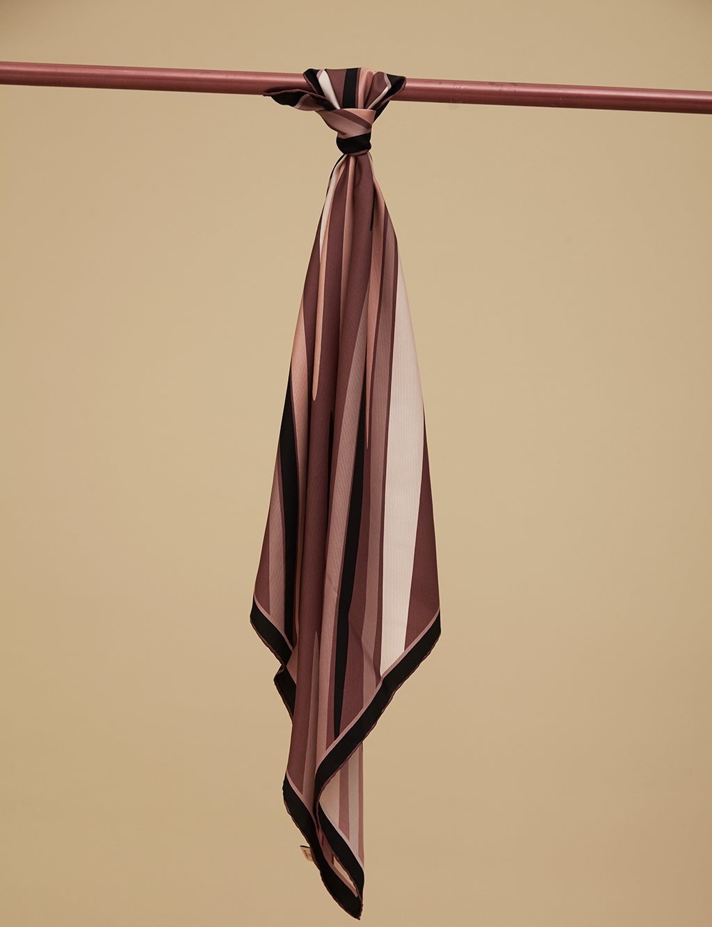 Color Detailed Twill Silk Scarf A9 ESP08 Camel