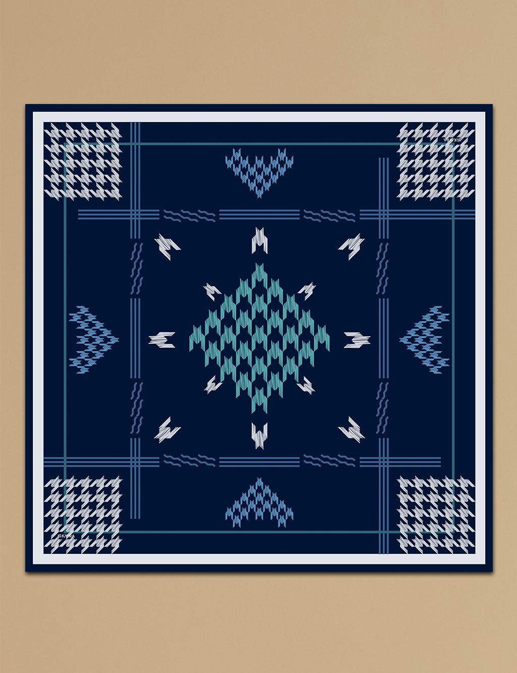 Houndstooth Check Twill Silk Scarf A9 ESP09 Navy