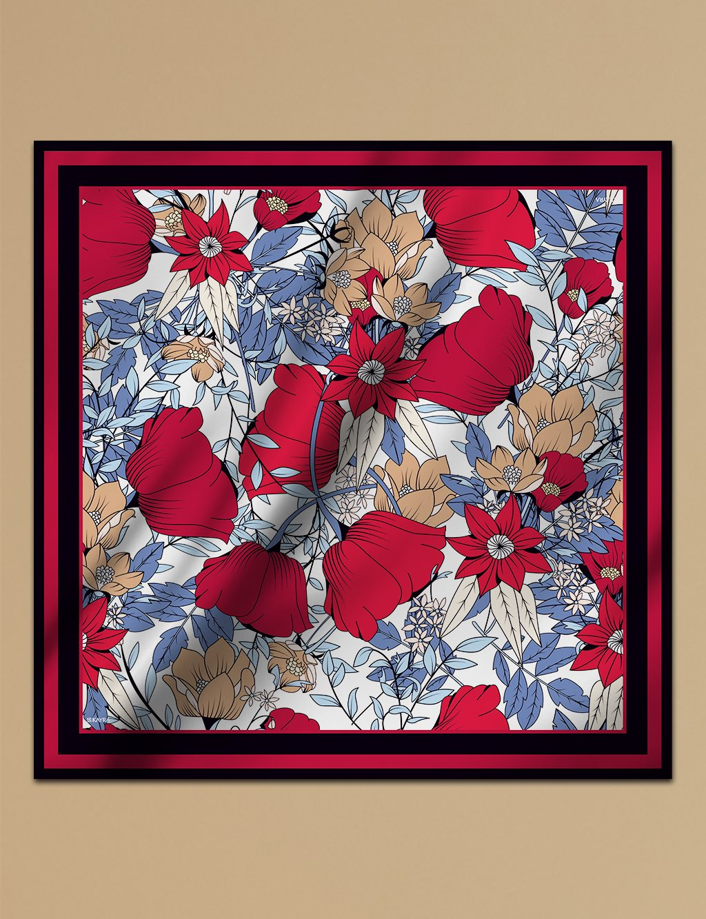 Floral Patterned Twill Cotton Scarf A9 ESP10 Red