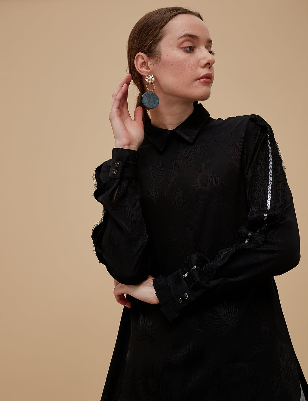 Striped Blouse With Sequin A9 10060 Black