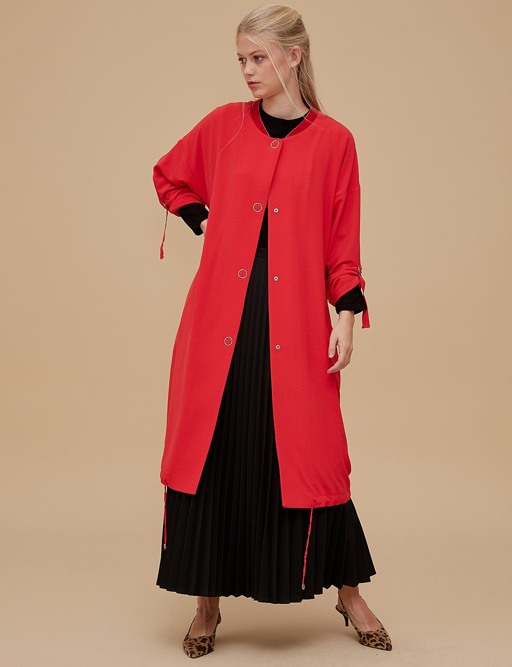 Maxi Bomber Jacket A9 13117 Red
