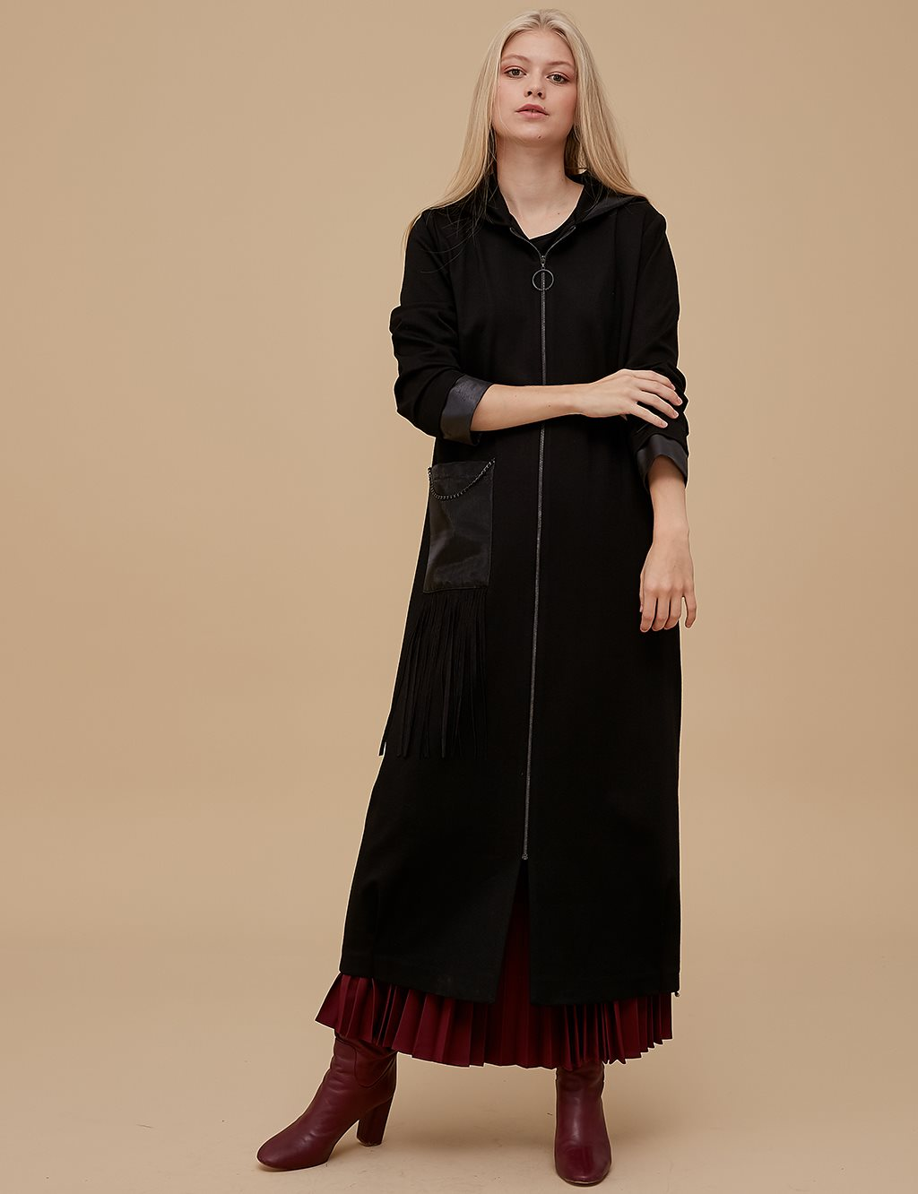 Organza Coat With Zipper A9 25071 Black