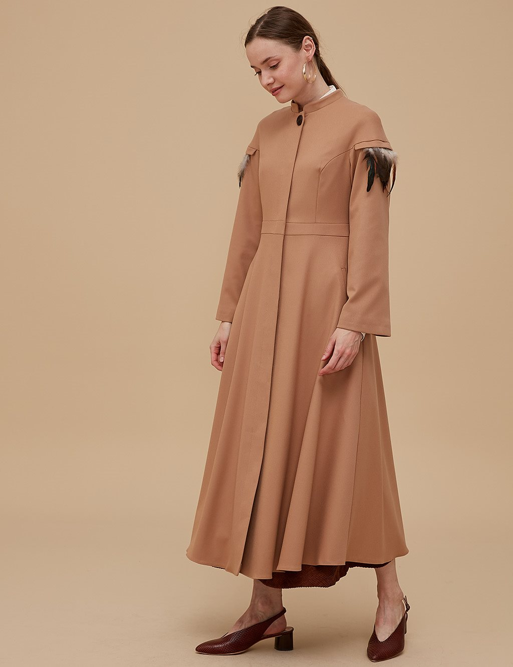 Three Quarter Sleeve Overcoat A9 15037 Beige