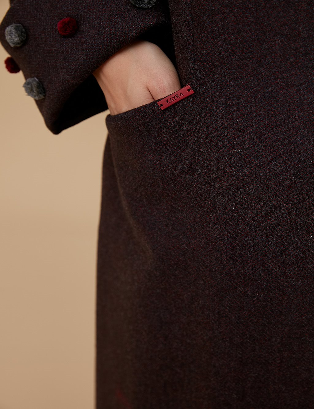 Collar Detailed Coat A9 17014 Burgundy