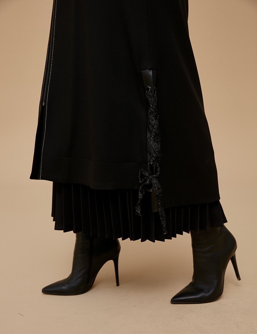 Ruched Detailed Coat A9 17052 Black