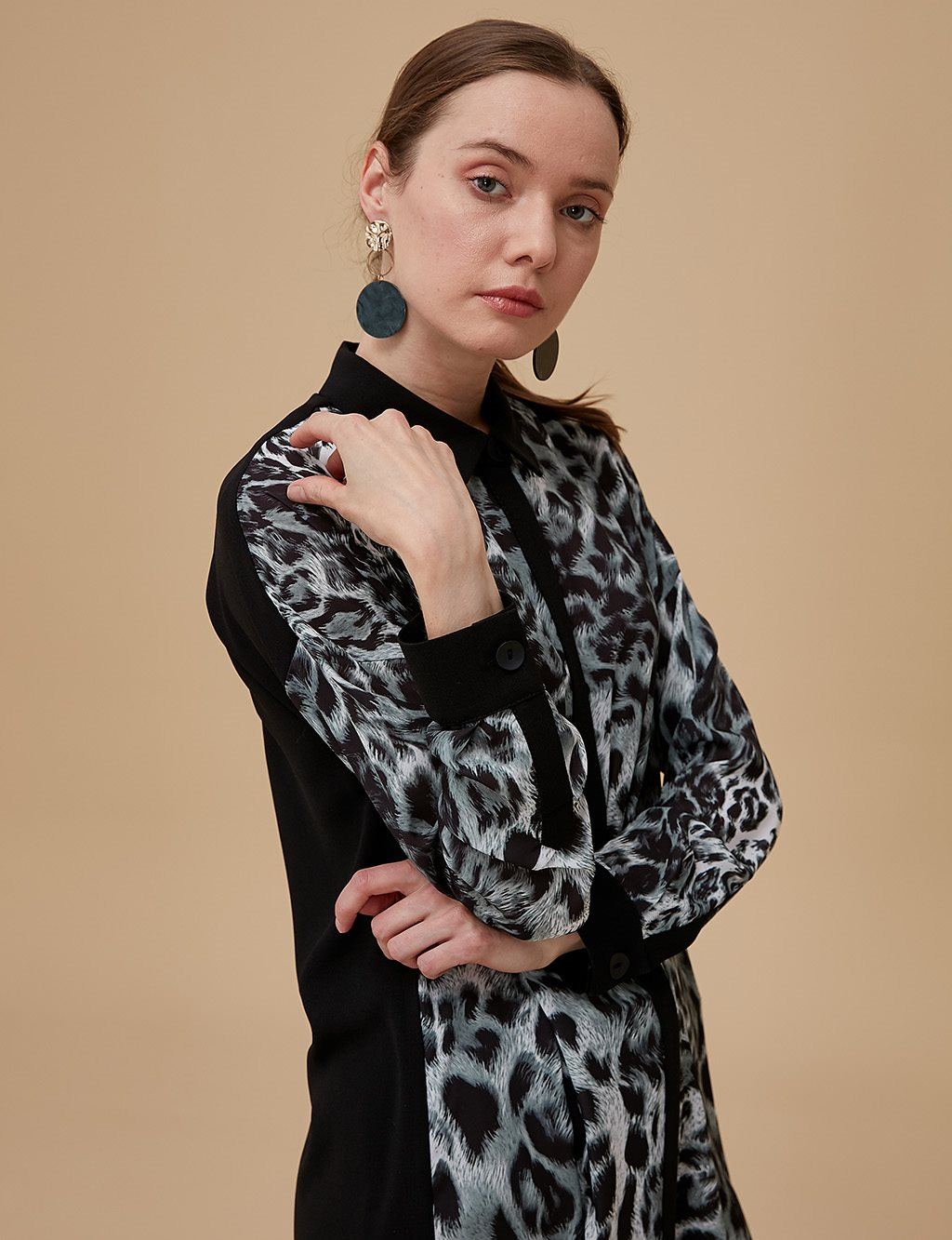 Leopard Patterned Tunic Black A9 21189