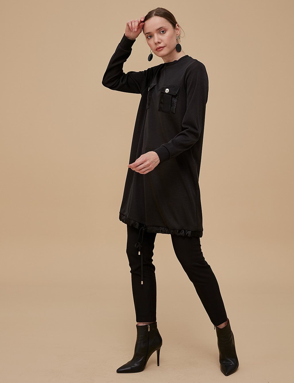 Ruched Tunic With Pocket Detail A9 21247 Black