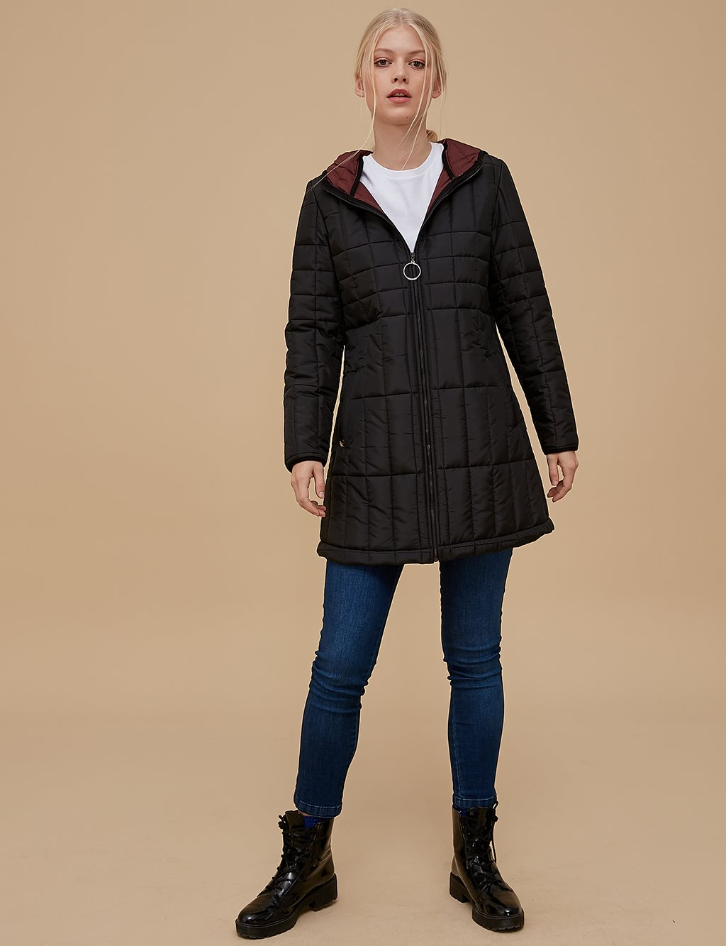 Quilted Anorak A9 27029 Burgundy | Black