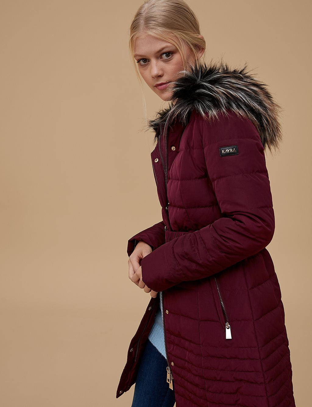 Goose-Quill Coat Burgundy A7 27009