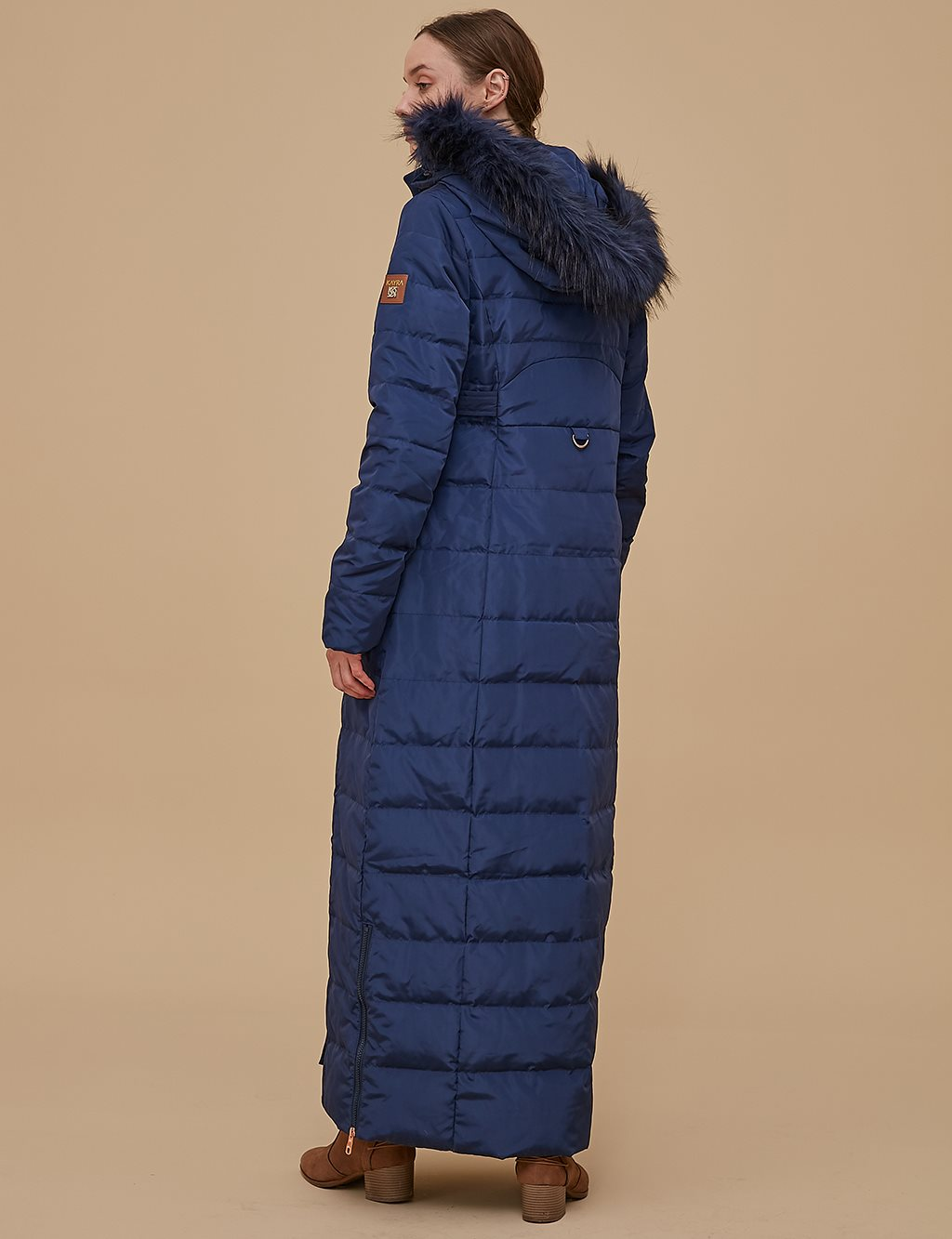 Goose-Quill Coat With Hood Navy A8 27001