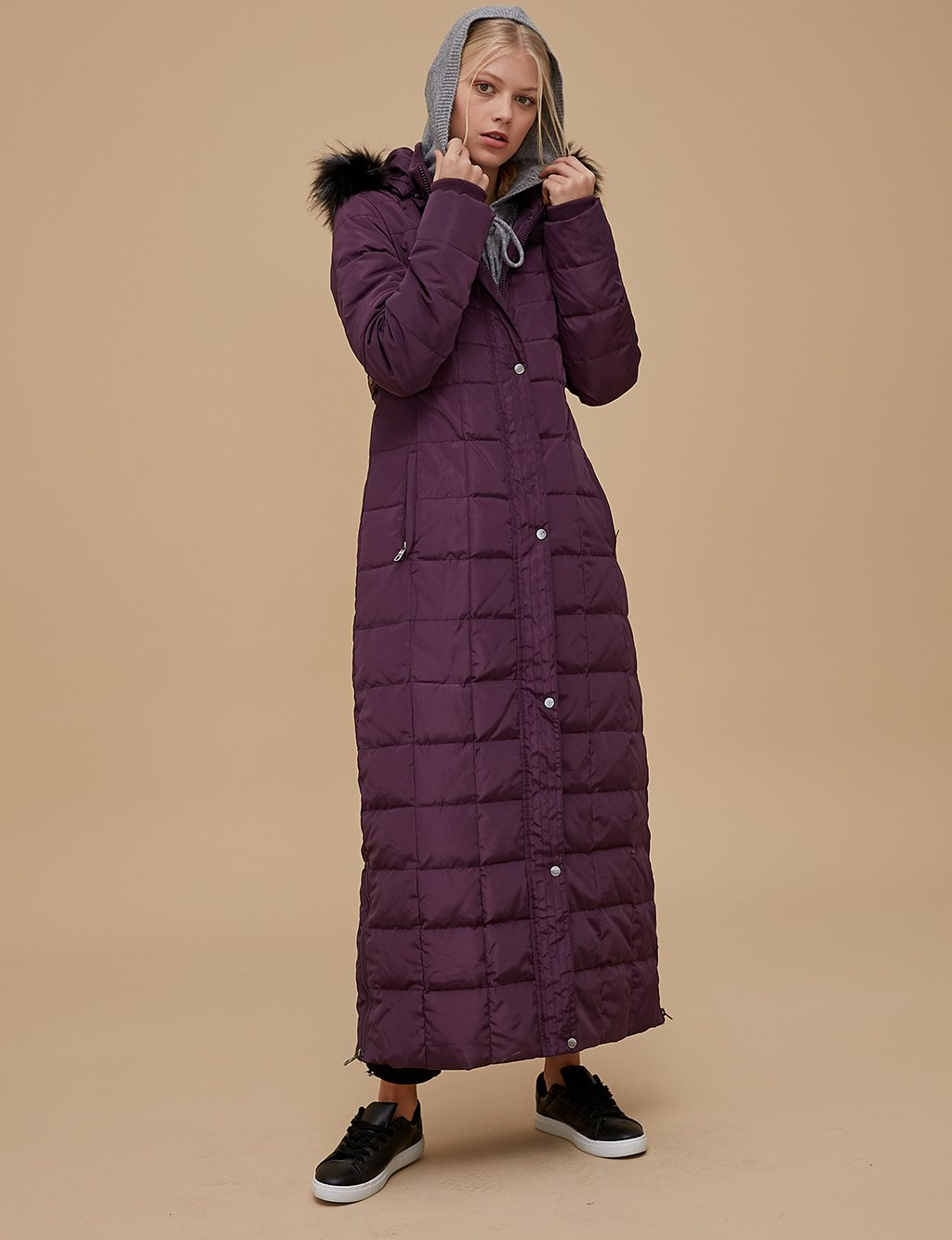 Goose-Quill Coat With Hood Plum A8 27001