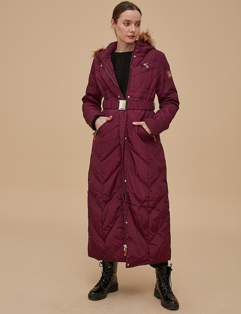 Goose-Quill Coat With Zipper Burgundy A8 27003