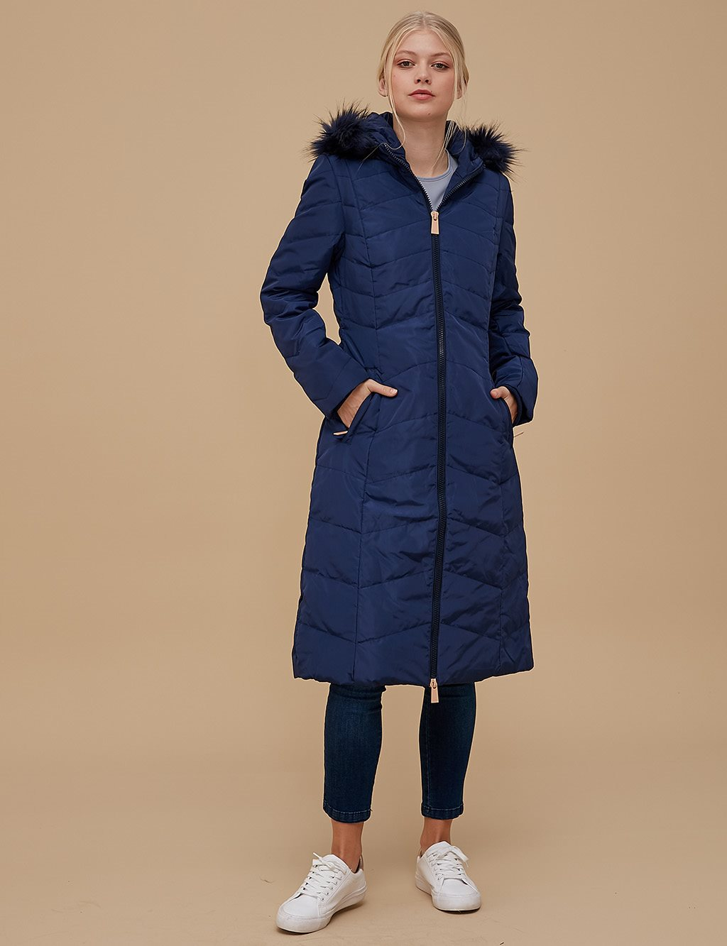 Goose-Quill Coat Navy A8 27011