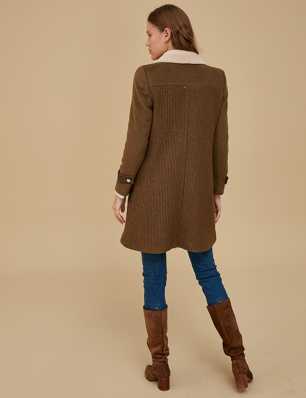 Plush Collar Coat A9 17045 Khaki