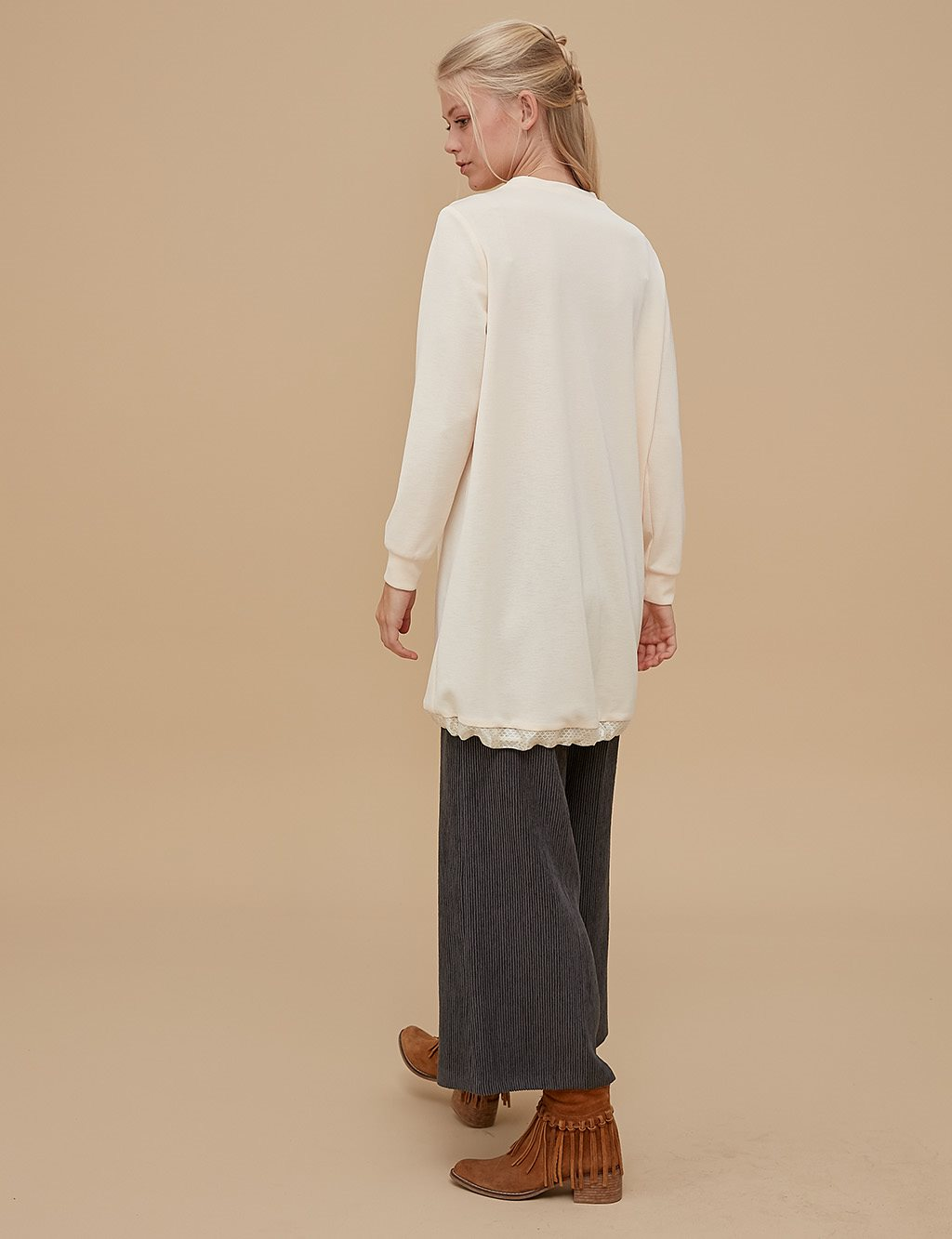 Ruched Tunic With Pocket Detail A9 21247 Cream