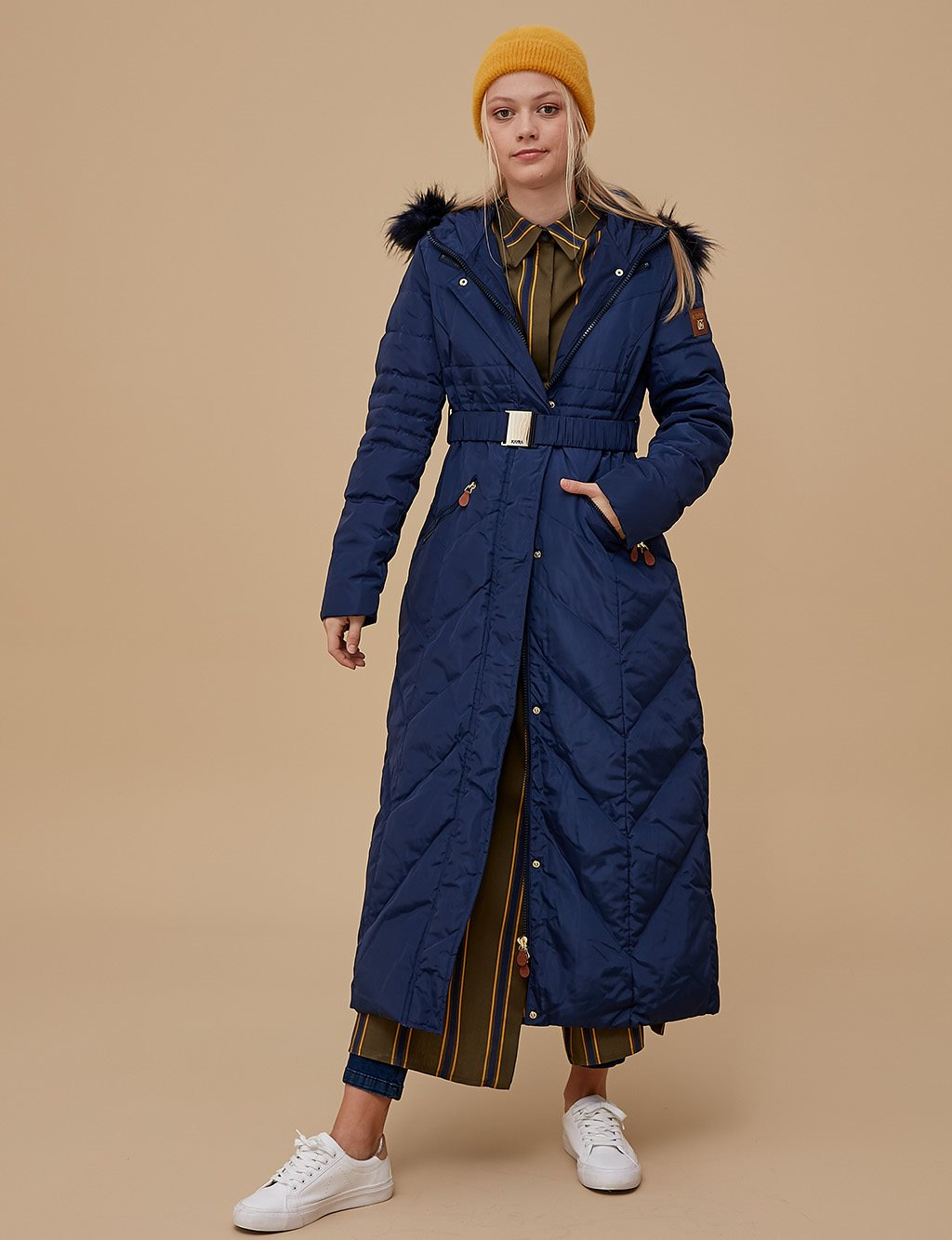Goose-Quill Coat With Zipper Navy A8 27003