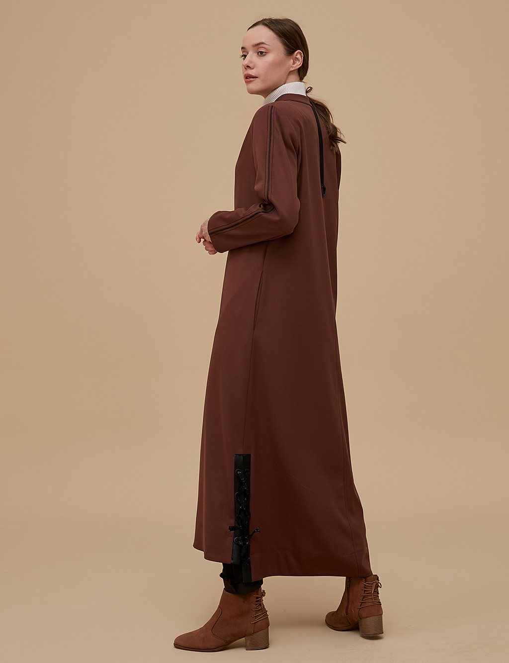 Ruched Detailed Coat A9 17052 Cinnamon