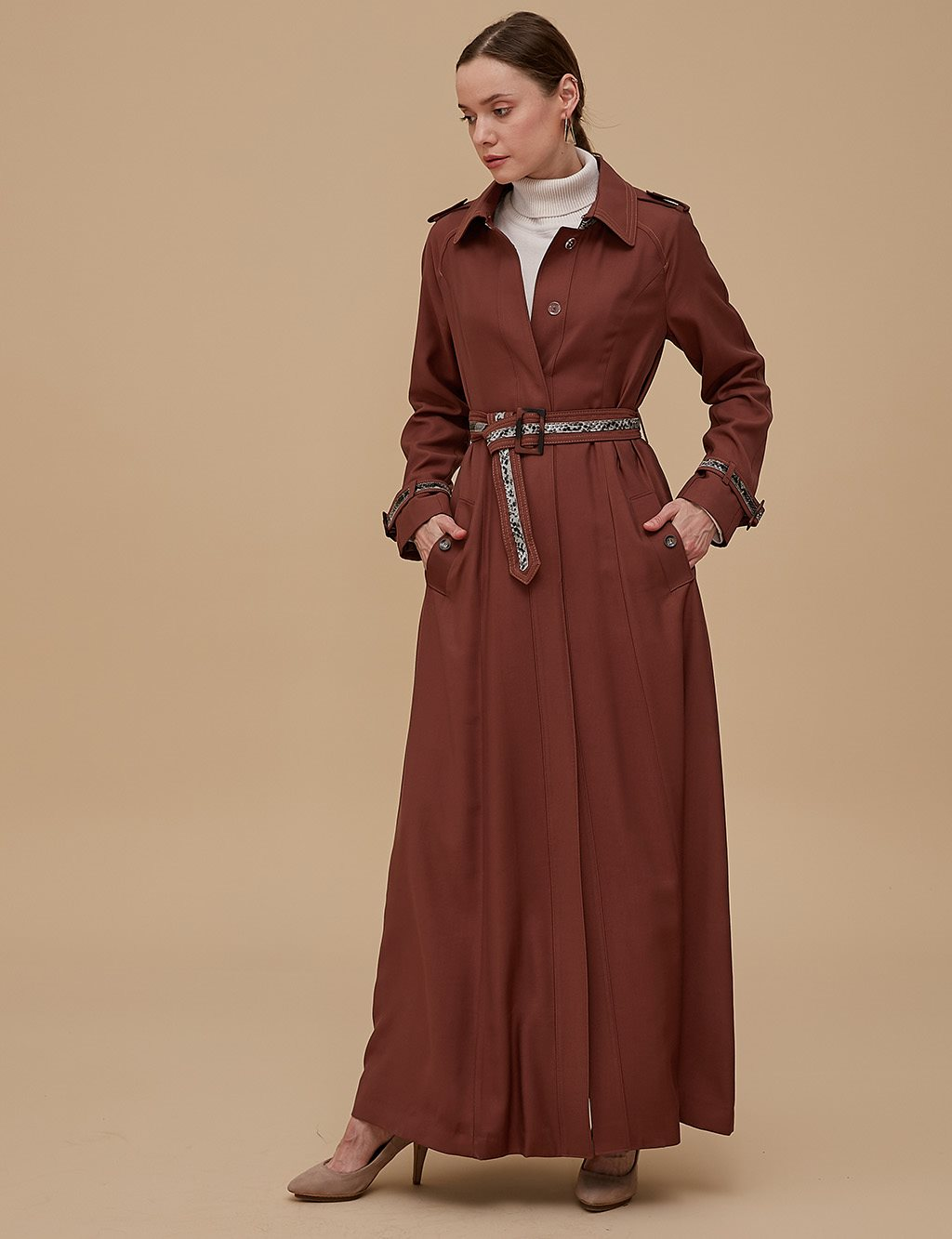 Overcoat With Belt Cinnamon A9 15041