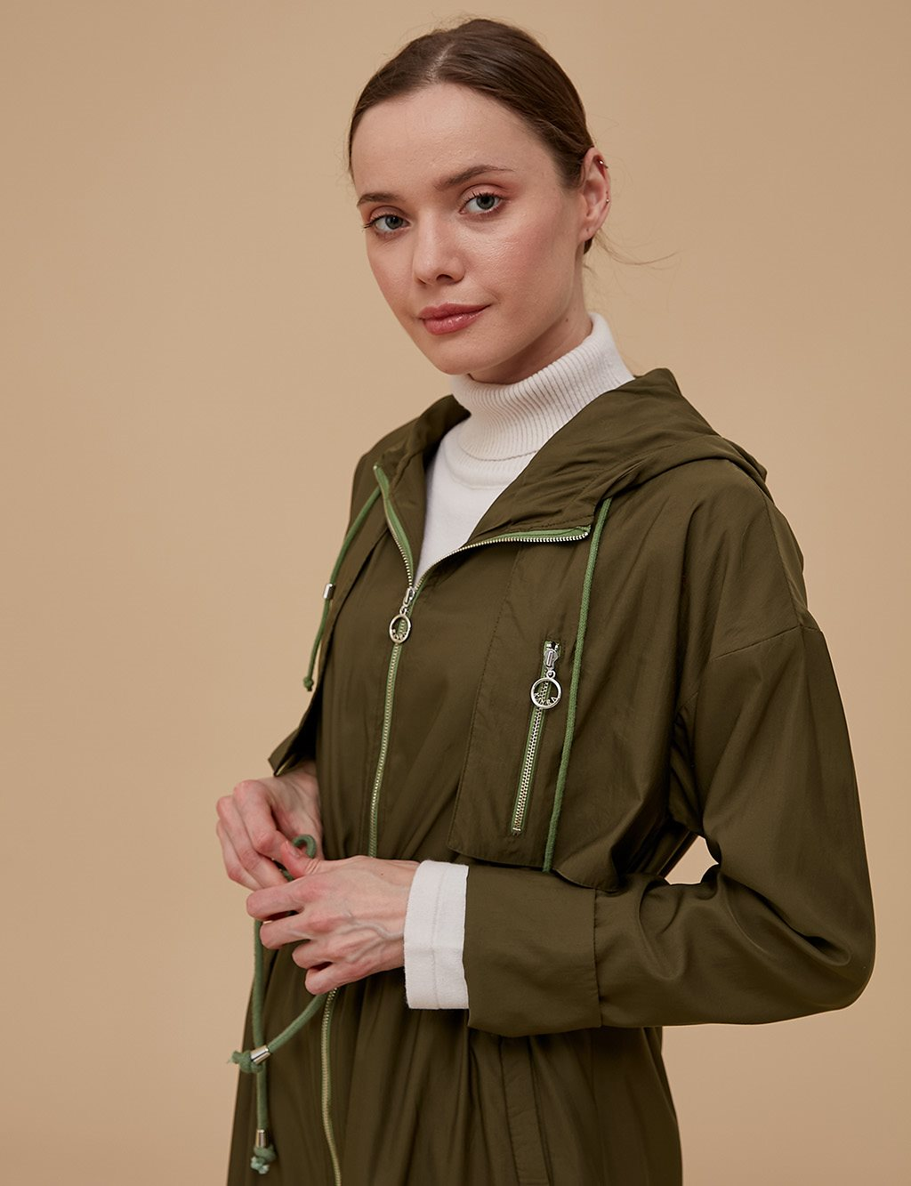 Ruched Coat With Zipper A9 25058 Green