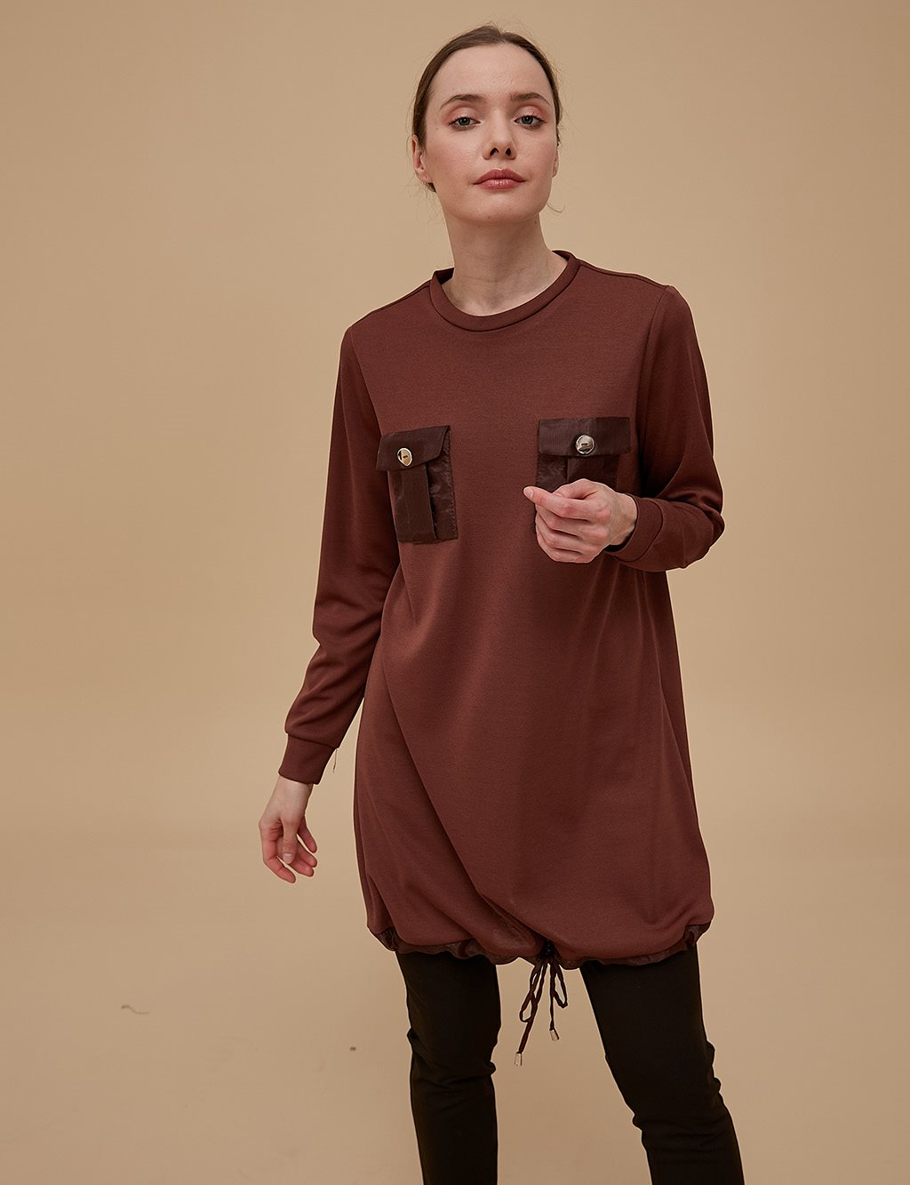 Ruched Tunic With Pocket Detail A9 21247 Cinnamon